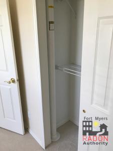 Radon mitigation in white closet